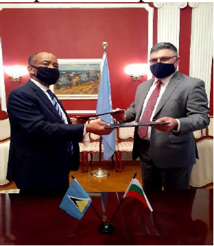 Ambassador Richardson and Ambassador Panayotov exchange instruments establishing formal diplomatic relations between
